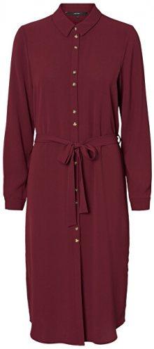 Vero Moda Dámské šaty VMSASHA SHIRT L/S DRESS COLOR Port Royale XS