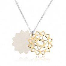 Náhrdelník ze stříbra 925 - lesklá srdcová čakra ve zlatém odstínu, matný lotosový květ R38.09