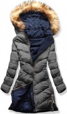 MODOVO Dámska zimní bunda s kapucí A5 šedo-modrá