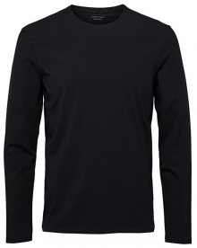 SELECTED HOMME Pánské triko SLHBASIC LS O-NECK TEE B NOOS Black S
