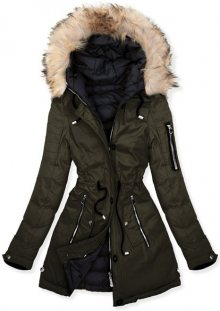 MODOVO Dámska oboustranná zimní bunda W631 khaki