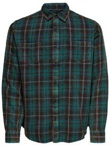 ONLY&SONS Pánská košile ONSOLSEN LS YD ACID WASH CHECK REG SHIRT Forest Night S