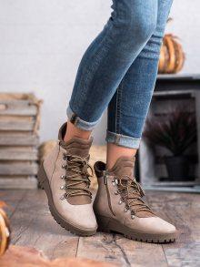 Komfortní hnědé  kotníčkové boty dámské na plochém podpatku