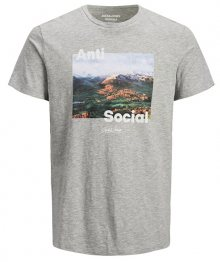 Jack&Jones Pánské triko JOROUTDOORS TEE SS CREW NECK Light Grey Melange S