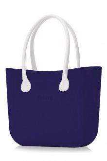 O bag kabelka Iris s bílými dlouhými koženkovými držadly