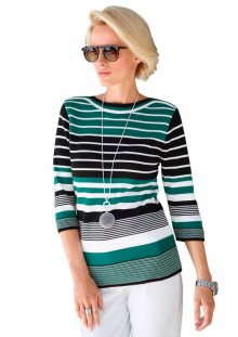 COLLECTION L. Pruhovaný pulovr Collection L. černá-zelená-proužky 40