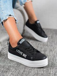 Moderní dámské  tenisky černé bez podpatku