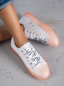 Luxusní bílé  tenisky dámské bez podpatku
