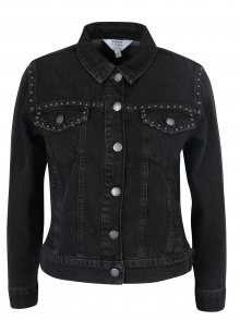 Černá džínová bunda s plastickými detaily Miss Selfridge