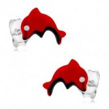 Puzetové náušnice ze stříbra 925, červený skákající delfínek, glazura I23.20