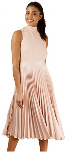 Closet London Dámské šaty Closet Gold Pleated Skirt Dress Blush M