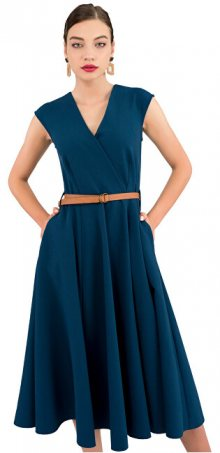 Closet London Dámské šaty Closet Flared Wrap Dress With Belt Petrol M