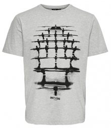 ONLY&SONS Pánské triko ONSFOOSBALL SS TEE Light Grey Melange S
