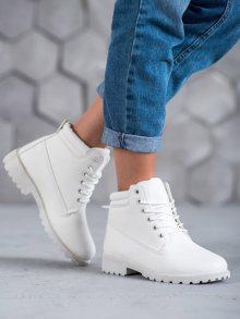 Originální bílé  kotníčkové boty dámské na plochém podpatku
