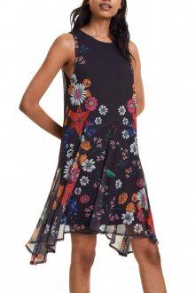 Desigual černé šaty Vest Francine s barevnými motivy - XS
