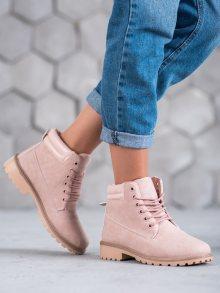 Komfortní dámské růžové  kotníčkové boty na plochém podpatku