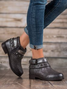 Jedinečné šedo-stříbrné dámské  kotníčkové boty na plochém podpatku