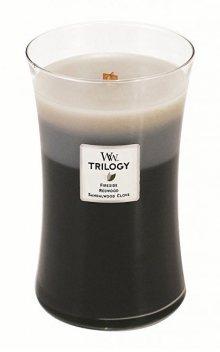 WoodWick Vonná svíčka Trilogy Fireside, Redwood, Sandalwood Clove 609 g