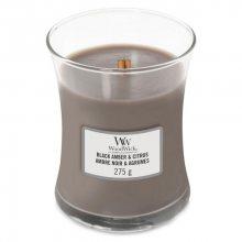 WoodWick Vonná svíčka váza Black Amber & Citrus 275 g