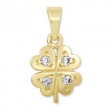 Brilio Zlatý přívěsek čtyřlístek s krystaly 249 001 00371 - 0,70 g