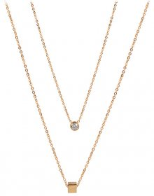 Troli dvojitý náhrdelník s kostičkou z pozlacené oceli TO2144