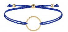 Troli Šňůrkový náramek s kruhem modrá/zlatá TO2478