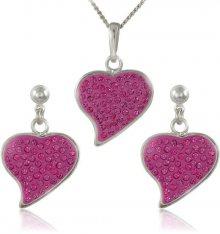 MHM Souprava šperků Srdce M5 Rose 34166 (náušnice, řetízek, přívěsek)