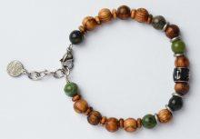 Green Time Náramek z dřevěných korálků a jadeitu ZWB219D