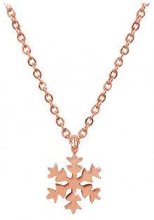 Troli Růžově pozlacený ocelový náhrdelník Sněhová vločka 79 rose gold TO1905
