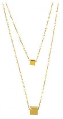 Troli Dvojitý pozlacený náhrdelník s kostičkami