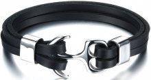 Troli Černý kožený náramek s ocelovou kotvou Leather