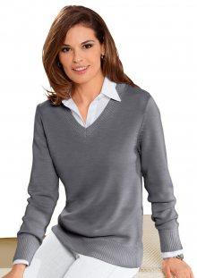 COLLECTION L. Klasický pulovr Collection L. šedý melír 36