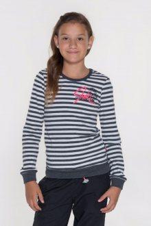 Sam 73 Dívčí pruhované triko s dlouhým rukávem Sam 73 černý melír 128