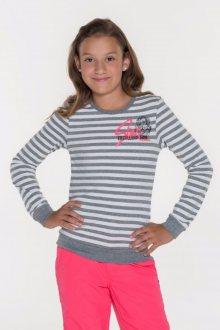 Sam 73 Dívčí pruhované triko s dlouhým rukávem Sam 73 šedá světlý melír 128