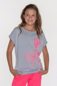 Sam 73 Dívčí triko s krátkým rukávem Sam 73 šedá světlý melír 116
