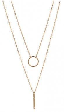 Troli dvojitý náhrdelník se stylovými přívěsky z pozlacené oceli TO2150
