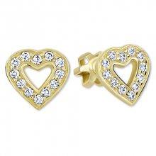 Brilio Zlaté srdíčkové náušnice s krystaly 239 001 00207 - 1,35 g