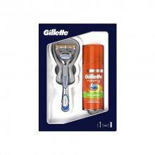 Gillette Fusion5 holicí strojek + Ultra Sensitive gel na holení 75 ml + kosmetická pro muže dárková sada