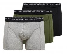 ONLY&SONS Pánské boxerky Nolen Trunk 3 Pack Box Noos Black-Olive Night-MGM S