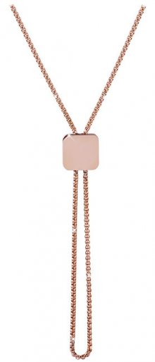 Troli Nastavitelný náhrdelník s kostičkou z růžově pozlacené oceli