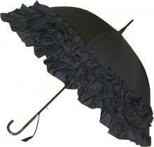 Blooming Brollies Dámský holový vystřelovací deštník Black Triple Frill BC3FBL