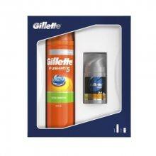 Gillette Fusion holící strojek + hlavice + gel na holení 75 ml hydratační dárková sada