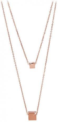 Troli Dvojitý růžově pozlacený náhrdelník s kostičkami