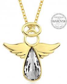 Levien Pozlacený náhrdelník s krystalem Angel Rafael LE0134