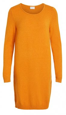 Vila Dámské šaty VIRIL L/S KNIT DRESS - NOOS Golden Oak XS