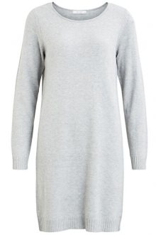 Vila Dámské šaty VIRIL L/S KNIT DRESS - NOOS Light Grey Melange XS