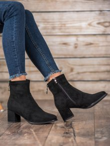 Zajímavé  kotníčkové boty dámské černé na širokém podpatku