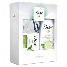 Dove Okurka & Zelený čaj sprchový gel pro ženy 250 ml + Fresh Touch toaletní mýdlo 100 g + luxusní sprchová houba dárková sada