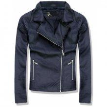 Tmavě modrá koženková bunda PLUS SIZE