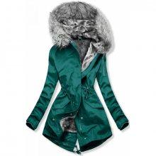 Zelená bunda se šedou odnímatelnou podšívkou